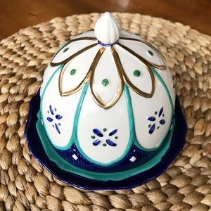 Anthropologie Circular Butter Dish Dome Lidded